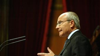 El president de la Generalitat, José Montilla, ahir en el debat de política general. /  ANDREU PUIG