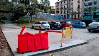 Les obres de reforma de la pujada de les Pedreres, de Girona, a mig fer. JORDI SOLER