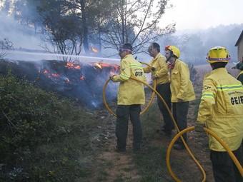 Els equips d'ADF a la zona de l'incendi intentat apagar les flames ahir a mitja tarda. DIMAS BALAGUER