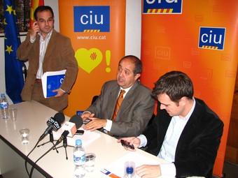 Turull, Puig i Cuminal, a l'acabar la roda de premsa a Granollers.