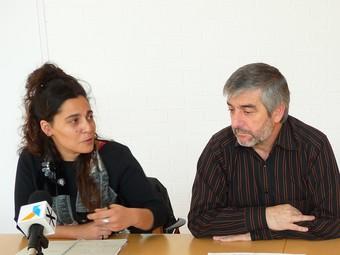 Bàrbara Scuderi, Josep Antoni Blanco i Carme Farràs, en la presentació del pressupost.  M.L