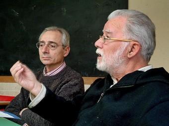 Fèlix Mussoll i Vicenç Fiol durant l'entrevista. JORDI SOLER