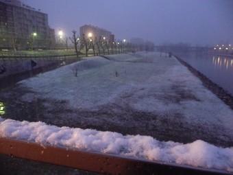 Neu a la riba del Segre, ahir a la tarda a Balaguer.  D.M