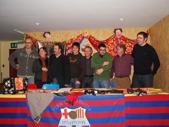 La junta de la Federació d'Associacions del Carnaval, dimarts a la Penya Barcelonista.  L.M