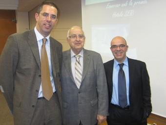 Josep M. Bagudà, director de l'àrea d'hotels, Ramon Bagó, president del Grup Serhs, i Jordi Bagó, director general.  E.B