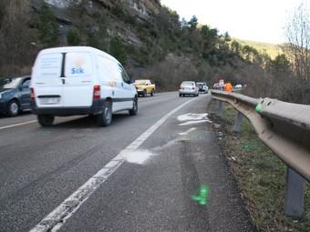 Lloc on es va produir l'accident mortal dimecres, a la C-55, a l'alçada de Castellgalí.  ACN