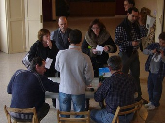 La mesa electoral de Sant Privat d'en Bas. R. E