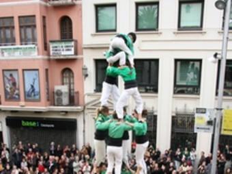 Quatre de set carregat pels Castellers del Riberal el 2008 en la diada dels Castellers de Badalona.