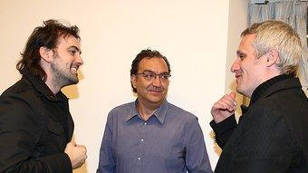 Xavier Pla, el moderador, entre Isaki Lacuesta i Marc Recha.  LLUÍS SERRAT