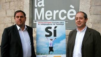 Oriol Junqueras (Esquerra) i Felip Puig (CiU) en un míting en què les dues formacions demanaven el vot afirmatiu M.LL.