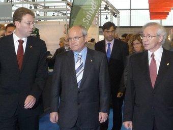 L'alcalde de Tortosa i el president de les cambres catalanes, amb Montilla, durant la inauguració d'Expoebre. G.M