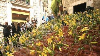 Un dels muntatges florals de la ciutat de Girona.  MANEL LLADÓ