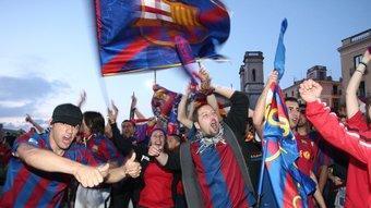 Celebració del títol de lliga del Barça. /  LL. SERRAT