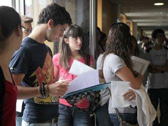 Les aules del campus Catalunya van acollir les proves, que s'allargaran fins demà.  JUDIT FERNÀNDEZ