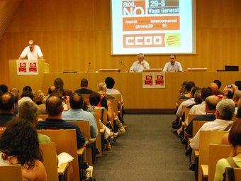 Fernández Toxo va participar en la reunió del Consell Intercomarcal de CCOO a Girona. I.B