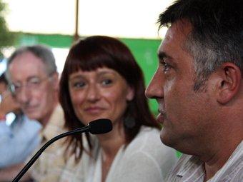 Laia Bonet i Joan Puigcercós en el debat de la UCE. ACN / GUILLEM SÁNCHEZ