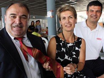 Bernat Guasch, president dels Dragons Catalans, i l'eurodiputada Marie-Thérèse Sanchez Schmid avui a Prada GUILLEM SÁNCHEZ / ACN