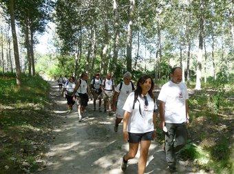 Membres de l'expedició del grup esportiu de la policia municipal d'Itàlia, ahir prop de Cervià.