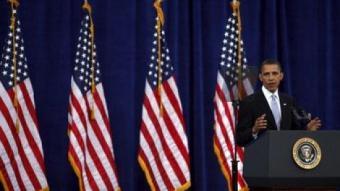 El president dels EUA, Barack Obama, va ser el primer a multiplicar les banderes en els seus discursos REUTERS / ARXIU