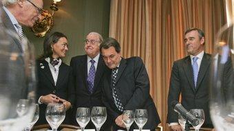 El líder de CiU, Artur Mas, poc abans de l'inici del dinar i de la conferència al Círculo Ecuestre ROBERT RAMOS
