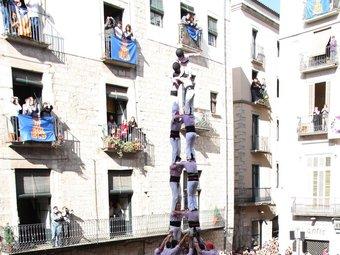 L'espectacular2 de 9 que els Minyons de Terrassa van descarregar ahir a Girona ACN