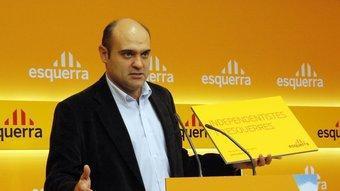 El cap de campanya d'ERC, Xavier Vendrell, ahir durant la presentació d'un dels nous lemes de la formació republicana ACN