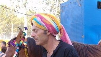 """Mario amb un exemplar de """"Marwari del Rajasthan (Índia). J.M.S"""