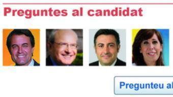 La imatge reprodueix l'espai del Canal Eleccions que permet als lectors plantejar les seves preguntes als vuit principals candidats a la presidència de la Generalitat.