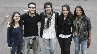 Clara Faulí (ERC), Oau Planelles (ICV-EUiA), Roger Montañola (CiU), Alexandre Moreno (PSC) i Elisa Bastardo (PP)  Robert Ramos
