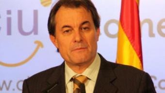 El president de CiU, Artur Mas, a la conferència d'avui PATRÍCIA MATEOS / ACN