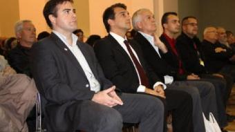 Uriel Bertran, Joan Laporta i Toni Strubell durant l'acte a Salt J.N