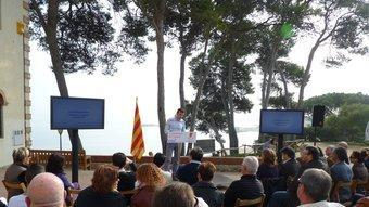 Un moment de la conferència de Santi Vila d'ahir a Sant Martí d'Empúries. PREMSA CIU