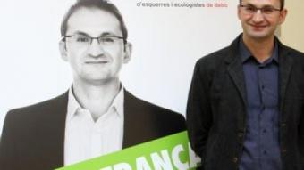 El candidat d'ICV-EUiA a la presidència de la Generalitat i el número tres de la llista, Jordi Miralles, presenten la campanya de la coalició per a les eleccions del 28-N ACN