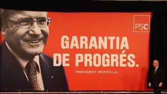 Montilla ha destapat el cartell amb el lema de campanya del PSC XAVIER ALSINET