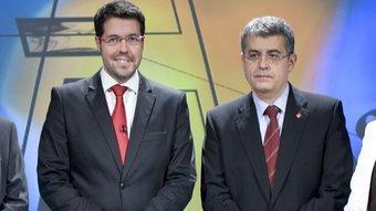 Els caps de llista d'ICV, ERC, CiU, PSC, PP i Ciutadans al debat electoral de TV3. Robert Ramos