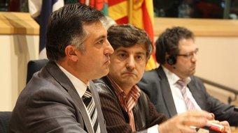 El candidat d'ERC, Joan Puigcercós, ahir en una conferència a la seu del Parlament europeu a Brussel·les ACN