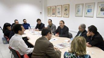 El candidat Joan Herrera a la redacció de l'Avui i El Punt Robert Ramos