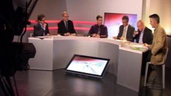 Tots els participants al debat d'Olot Televisió, que va ser moderat per Albert Brosa. J.C