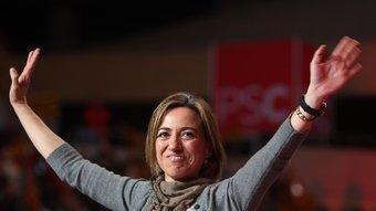 Chacón només va participar en un acte de campanya, el tancament al Sant Jordi O.DURAN/G. MASSANA/ J. LOSADA