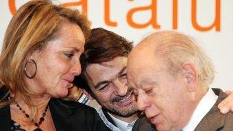 Helena Rakosnic, Oriol Pujol i el seu pare, Jordi Pujol, celebren els resultats de la federació ANDREU PUIG