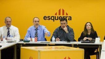 El secretari general d'ERC, Joan Ridao, i el president del partit, Joan Puigcercós, en l'executiva d'ERC ROBERT RAMOS