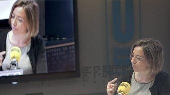 La ministra Carme Chacón durant l'entrevista als estudis de la cadena SER a Madrid EFE