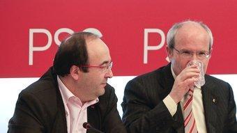 Miquel Iceta, José Montilla i Jordi Hereu en l'última executiva que va celebrar el PSC, la setmana passada ROBERT RAMOS