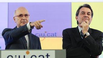 Josep Antoni Duran i Lleida i Artur Mas a la seu de CiU, on van confirmar que el líder d'Unió es quedarà a Madrid ROBERT RAMOS