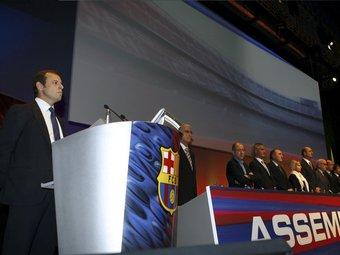 Imatge de la darrera assemblea de compromissaris del Futbol Club Barcelona.  EFE