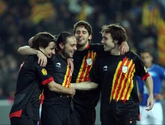 Bojan, Sergio García, Corominas i Verdú, en el darrer partit que Catalunya va jugar, davant Hondures, l'últim desembre. /  O.DURAN