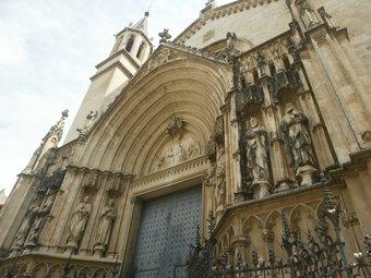 Imatge de la basílica de Santa Maria de Vilafranca, un dels llocs citats en la novel·la que serà visitada pels lectors ANDREU PUIG