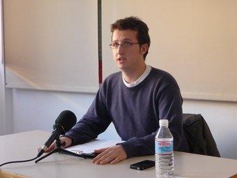 Pol Moragas ahir durant la roda de premsa. C.A.F