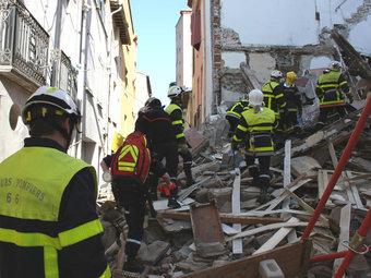 Intervenció dels bombers de la Catalunya del nord en un esfondrament.