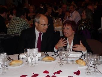 José Montilla i Carme Carmona, en l'acte d'ahir a l'Hotel Campus de la UAB.